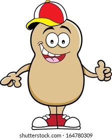 Cartoon illustration of a potato wearing a baseball cap.