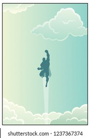Cartoon illustration of powerful superhero flying across beautiful cloudscape.