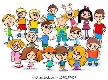 Cartoon Illustration of Preschool or School Age Children Characters Group