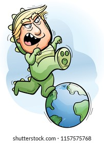 A cartoon illustration of President Donald Trump trampling the Earth in a dinosaur costume. August 16, 2018.