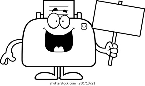 A cartoon illustration of a printer holding a sign.
