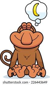 A cartoon illustration of a proboscis monkey dreaming of a banana.