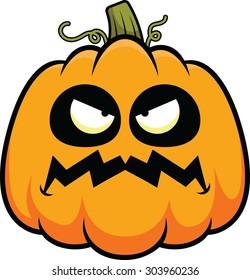 Cartoon illustration of a pumpkin with a grumpy expression.