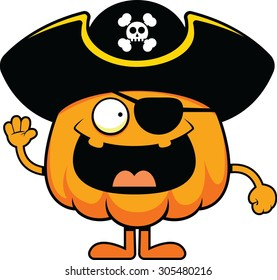 Cartoon illustration of a pumpkin pirate with a cheerful expression.