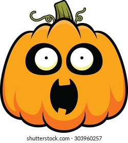 Cartoon illustration of a pumpkin with a surprised expression.