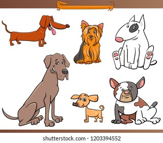 Cartoon Illustration of Purebred Dog Characters Set