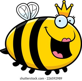 A cartoon illustration of a queen bee with a crown.