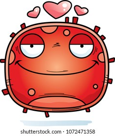 A cartoon illustration of a red blood cell looking in love.