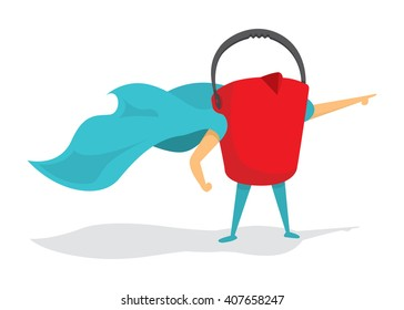 Cartoon illustration of red bucket super hero saving the day