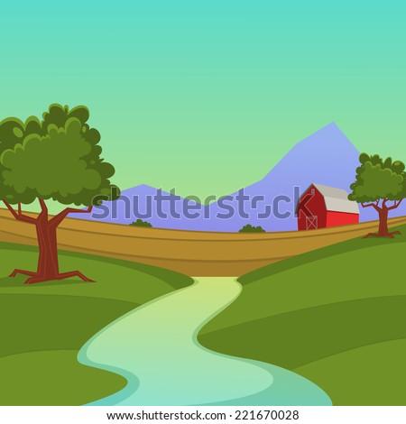 cartoon illustration red farm barn stock vector royalty free