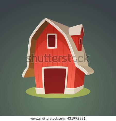 cartoon illustration red farm barn icon stock vector royalty free