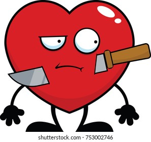 Cartoon illustration of a red heart with a knife.