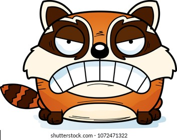 A cartoon illustration of a red panda with an angry expression.