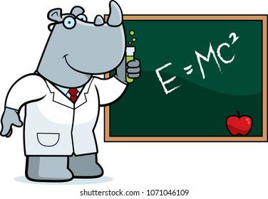 A cartoon illustration of a rhinoceros scientist.