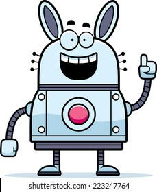 A cartoon illustration of a robot rabbit with an idea.