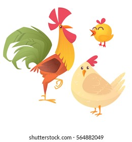 Cartoon illustration of rooster, hen and chicken, isolated on white. Vector