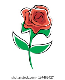cartoon illustration of a Rose Cartoon Illustration