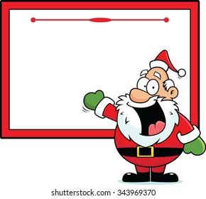 Cartoon illustration of a Santa with a blank sign.