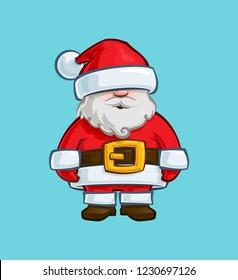 Cartoon Illustration of a Santa Claus Doll. Vector Icon: Lines, Color, Shadows and Lights neatly in well-defined layers & groups