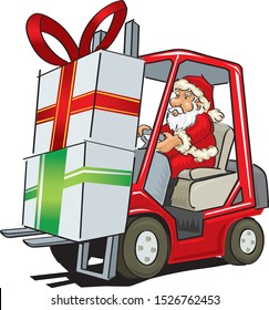 cartoon illustration of santa claus driving a forklift
