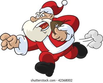 Cartoon illustration of Santa Claus as a football player