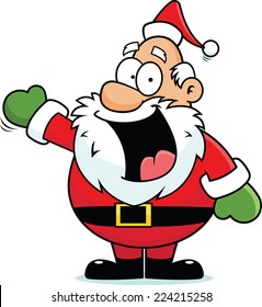 Cartoon illustration of a Santa Claus pointing and smiling.
