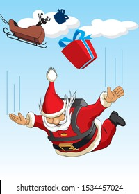 cartoon illustration of Santa Claus skydiving
