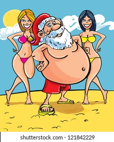 Cartoon illustration of Santa Claus standing on a sunny tropical beach flanked by two gorgeous ladies in bikinis as he enjoys a well earned vacation after Christmas