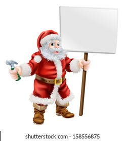 Cartoon illustration of Santa holding a spanner and sign, great for construction business, carpenter or hardware shop Christmas sale or promotion