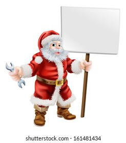 Cartoon illustration of Santa holding a spanner and sign, great for mechanic, plumber or hardware shop Christmas sale or promotion