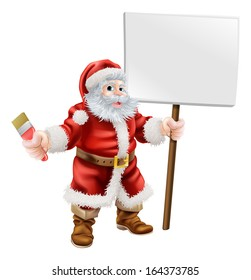 Cartoon illustration of Santa holding a spanner and sign, great for decorator or hardware shop Christmas sale or promotion