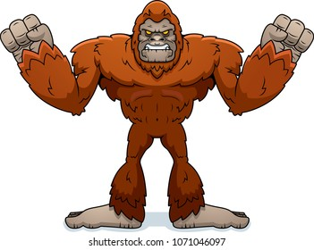 A cartoon illustration of a sasquatch looking angry.