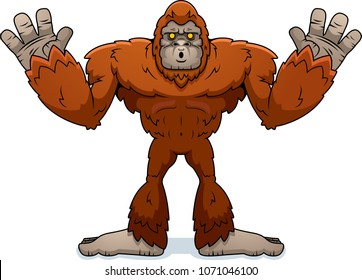 A cartoon illustration of a sasquatch surrendering with hands up.