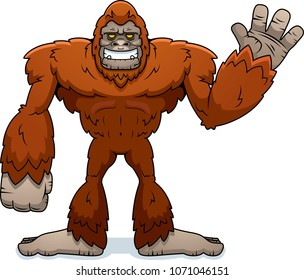 A cartoon illustration of a sasquatch waving.