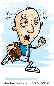 A cartoon illustration of a senior citizen man football player running and looking exhausted.
