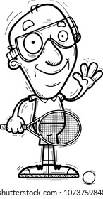 A cartoon illustration of a senior citizen man racquetball player waving.