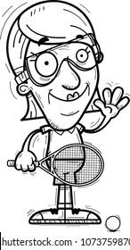 A cartoon illustration of a senior citizen woman racquetball player waving.