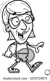 A cartoon illustration of a senior citizen woman racquetball player walking.