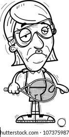 A cartoon illustration of a senior citizen woman racquetball player looking sad.