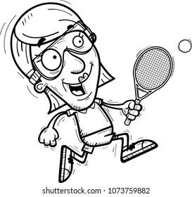 A cartoon illustration of a senior citizen woman racquetball player running.