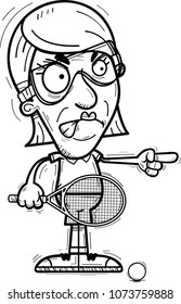 A cartoon illustration of a senior citizen woman racquetball player looking angry and pointing.