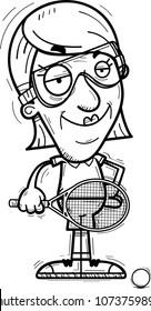 A cartoon illustration of a senior citizen woman racquetball player looking confident.