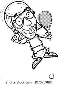 A cartoon illustration of a senior citizen woman racquetball player jumping.