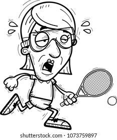 A cartoon illustration of a senior citizen woman racquetball player running and looking exhausted.