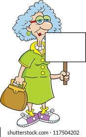 Cartoon illustration of a senior citizen women holding a sign.
