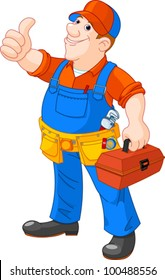 Cartoon illustration of  serviceman holding tool box