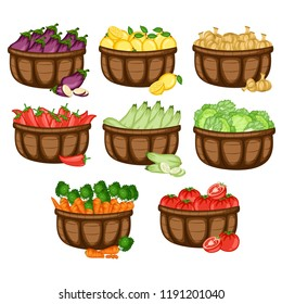 Cartoon Illustration Set of 8 Baskets with Different Vegetables. Veggies in Big Containers Vector Isolated on White Background. Jalapeno, Eggplant, Zucchini, Onion, Lettuce, Carrots, Tomato