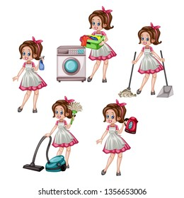 Cartoon Illustration Set of Cute Retro Housewife in Different Positions Isolated on White Background. Beautiful House Cleaner Holding  Floor Mop, Spray Bottle, Laundry, Vacuum Cleaner, Electric Kettle