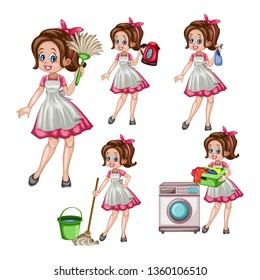 Cartoon Illustration Set of a Cute Retro Housewife in Different Positions Isolated on White Background. Beautiful House Cleaner Holding  Floor Mop, Spray Bottle, Laundry, Dust Stick