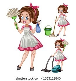 Cartoon Illustration Set of a Cute Retro Housewife in Different Positions Isolated on White Background. Beautiful House Cleaner Holding  Floor Mop, Spray Bottle, Laundry, Dust Stick, Vacuum Cleaner